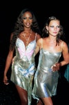 Image may contain: Kate Moss, Naomi Campbell, 90s style, 90s party style, iconic style, supermodel style, party style and fashion